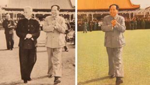 """""""第二历史"""":左图摄于1959年,毛泽东与当选国家主席的刘少奇在中南海接见人大代表。右图发表于1978年《毛泽东主席照片选集》,刘少奇与朱德均被删抹。"""