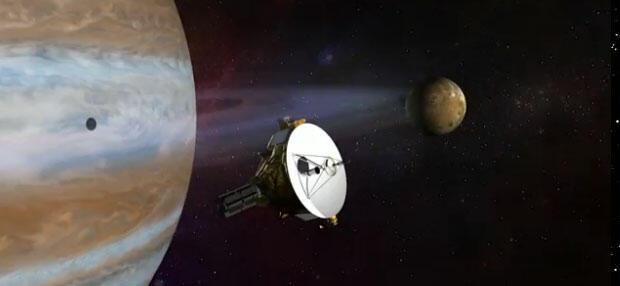 Representação artística da Missão Plutão com passagem da sonda New Horizons que está acelerando em direção a Plutão para seu primeiro voo em 14 de julho de 2015.