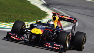 Sebastian Vettel, à bord de sa Formule 1 Red Bull.