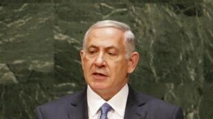 Benyamin Netanyahu à la tribune de l'ONU, le 29 septembre 2014.