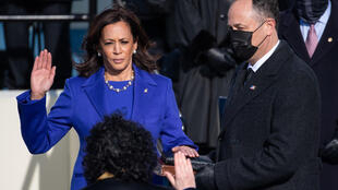 Kamala Harris is sworn in as the 49th US vice president by Supreme Court Justice Sonia Sotomayor