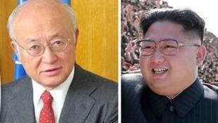 یوکیا آمانو، مدیرکل آژانس بینالمللی انرژی اتمی (سمت چپ)، کیم جون اون، رهبر کره شمالی (سمت راست)