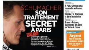 O ex-piloto Michael Schumacher é manchete do jornal Le Parisien/Aujourd'hui en France desta terça-feira, 10 de setembro de 2019.