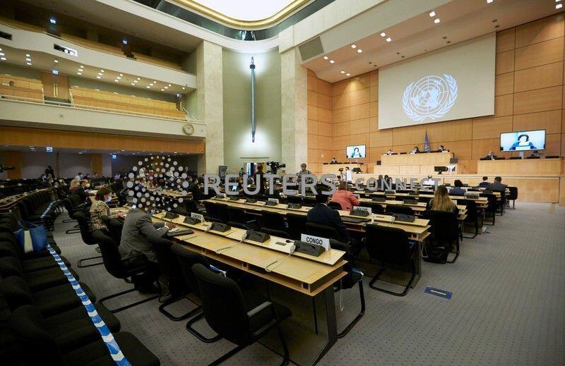 Sessão do Conselho de Direitos Humanos da ONU em Genebra em 30/06/2020.