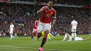 Le joueur Anthony Martial après avoir marqué pour Manchester United contre Liverpool, le 12 septembre 2015.