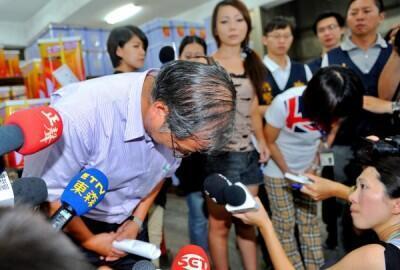 Ông Diệp Văn Tường (Yeh Wen Hsiang), chủ tịch công ty dầu ăn Cường Quan (Chang Guann Co) buộc phải xin lỗi công chúng trên vấn đề dầu bẩn- Ảnh  ngày 13/09/2014. DR
