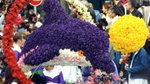 """Desfiles durante a """"Festa da Violeta"""" em Tourette sur Loup."""