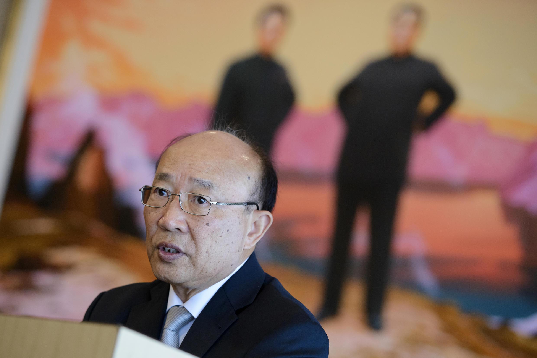 So Se Pyong, embaixador norte-coreano nas Nações Unidas, durante coletiva de imprensa em Genebra sobre o programa nuclear em seu país, em 29 de julho de 2015.