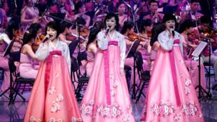 2018年2月8日,朝鮮藝術團在韓國江陵演出。