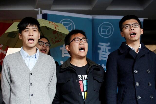香港占中三学子岑敖晖(左),黄浩铭(中)及黄之峰再遭判刑。2018年1月17日