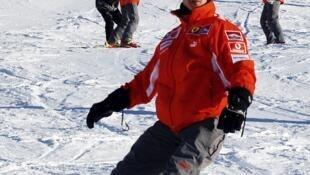 Michael Schumacher snow boarding in the Italian resort of Madonna Di Campiglio. File, January 2005.