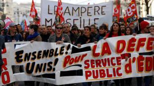 Manifestación de los docentes en Marsella, este 12 de noviembre de 2018.