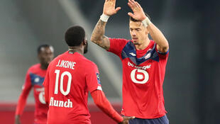 Lille skipper Jose Fonte (right) scored his side's equaliser against Strasbourg in the closing stages of their Ligue 1 match.