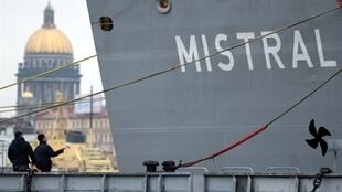 Mistral helicopter carrier in Saint Petersburg