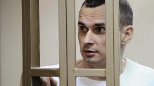Đạo diễn Ukraina Oleg Sentsov tại phiên tòa ở Rostov-on-Don, tháng 08/2015.