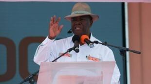 Shugaba Alassane Ouattara yayin wani taro a birnin Abidjan.