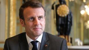 Tổng thống Pháp Emmanuel Macron tại điện Elysée, Paris, ngày 12/04/2019.