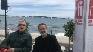 Vasco Pimentel e Rui Poças, responsáveis do som e da fotografia, respectivamente, de Frankie, em Cannes a 20 de Maio de 2019.