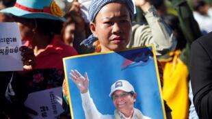 Phe ủng hộ lãnh đạo đối lập Cam Bốt, Kem Sokha. Ảnh ngày 26/09/2017.
