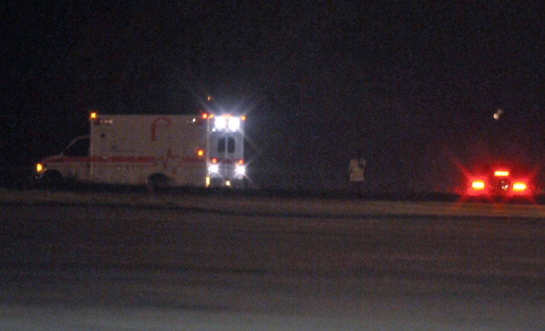 An ambulance takes Yar'Adua out of Nnamdi Azikiwe airport