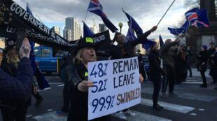 2018年3月26日,反脱欧人士在英国议会前示威。
