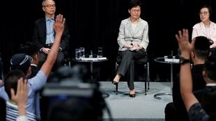 """香港特首林郑月娥出席""""社区对话""""活动资料图片"""