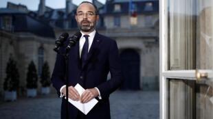 O primeiro-ministro da França, Édouard Philippe, durante pronunciamento em rede nacional de televisão em 6 de dezembro de 2019.