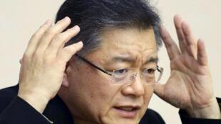 韓裔加拿大牧師林賢洙2015年7月30日在平壤由朝鮮當局安排的記者會上。