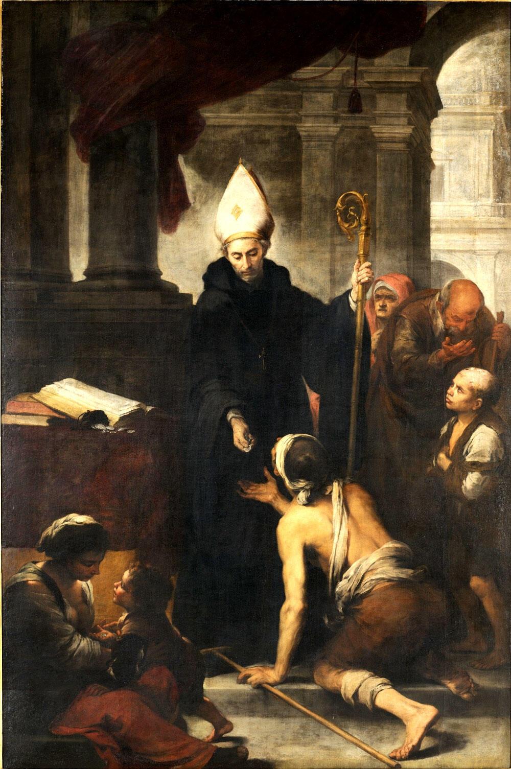 """""""Santo Tomás de Villanueva dando limosna a los pobres"""", de Bartolomé Esteban Murillo, 1668."""
