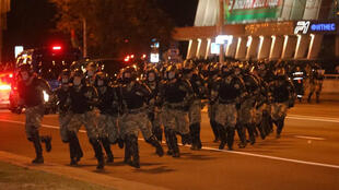 Speical troops were called in to disperse protesters gathered in the Belarus capital Minsk, after the closing of polling stations for presidential elections, 9 August 2020.