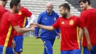 La Roja se entrena en Burdeos, estadio Chaban Delmas, este 20 de junio de 2016. En el centro, el entrenador Vicente del Bosque.