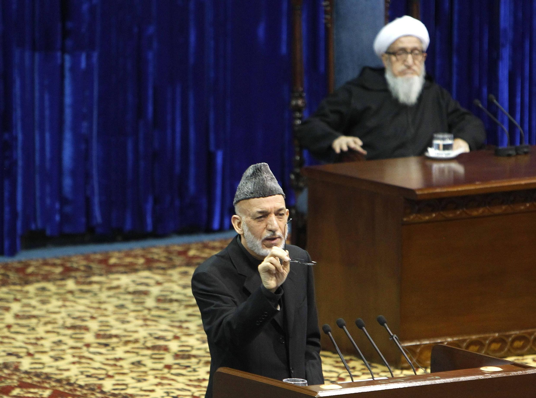 Tổng thống Afghanistan Hamid Karzaï phát biểu tại Loya Jirga, Kabul, 21/11/2013