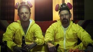 "Aaron Paul (Jesse Pinkman) e Bryan Cranston (Walter White), a dupla de ""Breaking Bad"""