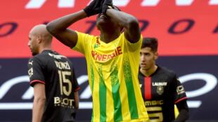 L'attaquant nantais Randal Kolo Muani, lors du match de L1, le 11 avril 2021 au Roazhon Park à Rennes