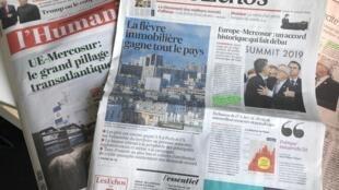 La prensa europea expresa en portada su preocupación por el acuerdo Mercosur-Unión Europea, el 01/07/2019.