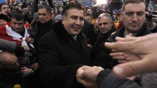 Михаил Саакашвили на Майдане Незалежности в Киеве, 7 декабря 2013