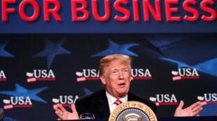 El presidente estadounidense Donald Trump en Hialeah (Floride), el 16 abril de 2018.