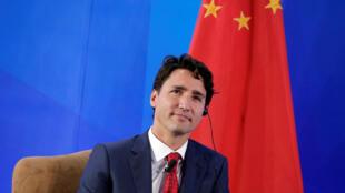 圖為加拿大總理特魯多抵訪中國參加中國企業傢俱樂部領袖論壇。攝於2016年8月30日