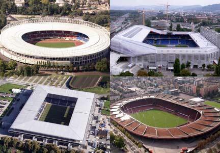 Quatre stades de l'Euro 2008: Vienne, Bâle, Salzbourg et Zürich.