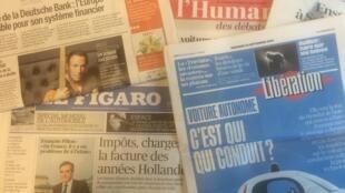 primeiras páginas dos jornais franceses 30-09-2016