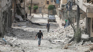 An Aleppo street after an air strike this month