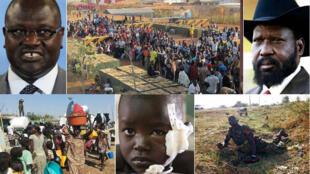 Raia wanaohama makaazi yao kufuatia mapigano kati ya vigogo wawili Salva Kiir (kulia juu) na Riek Machar (kushoto juu)