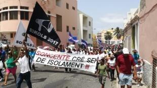 Manifestação no Mindelo, São Vicente, a 5 de Julho de 2019.
