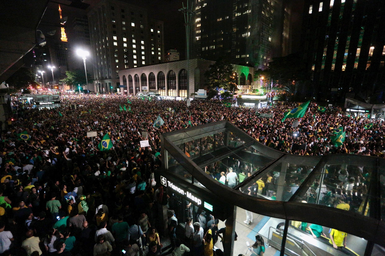 Manifestation hostile à la nomination de Lula au gouvernement brésilien. Sao Paulo, le 16 mars 2016.