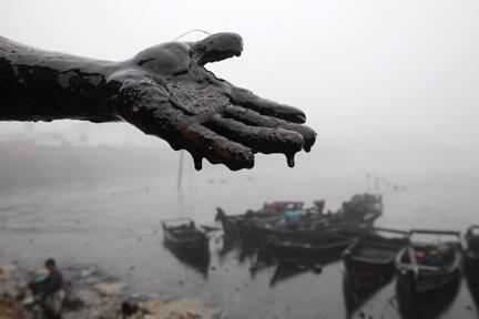 La main engluée de pétrole d'un travailleur chargé du nettoyage de la marée noire de Dalian à Nanhaitun, dans la province de Liaoning en Chine, le 21 juillet 2010.