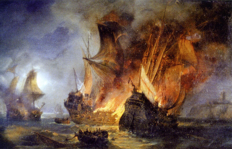 The simultaneous destruction of the Cordelière and the Regent warships