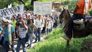 Manifestación en Bolombolo, este 25 de febrero de 2013.
