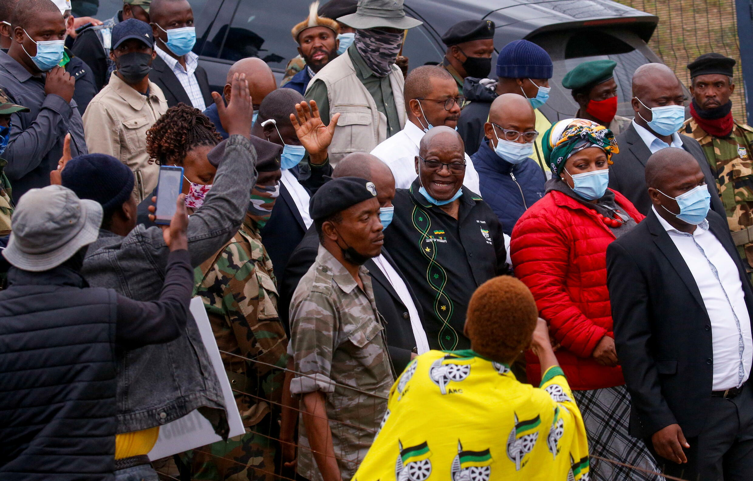 Hundreds of people have gathered outside the home in Nkandla of the former South African President Jacob Zuma to show their support in his fight against a jail sentence.