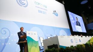 法國總統馬克龍11月15日在第23屆氣候峰會上發言