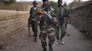 Malian sodiers in Kadji on Friday